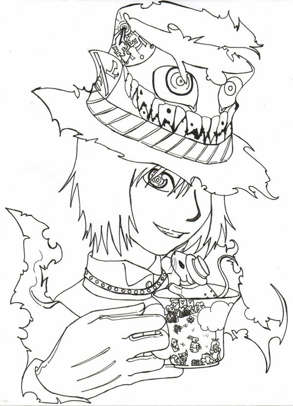 600x830 Manga Drawing Mad Hatter Coloring Page Color Luna