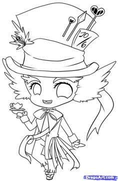 236x362 Mad Hatter Hat Drawing