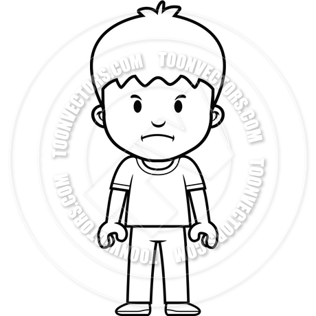 460x460 Cartoon Boy Mad (Black And White Line Art) By Cory Thoman Toon