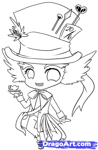 390x598 How To Draw Chibi Mad Hatter, Step By Step, Chibis, Draw Chibi