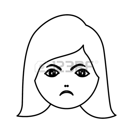 450x450 Human Woman Expression Angry Face Vector Illustration Royalty Free