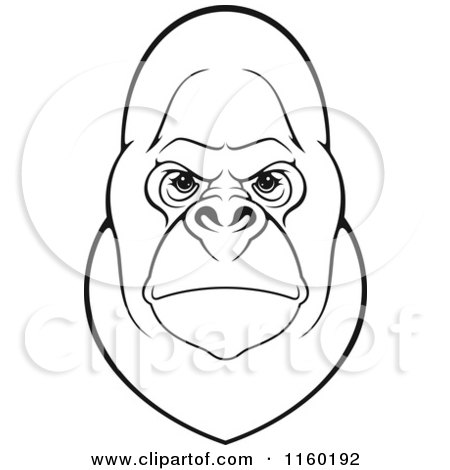 450x470 Clipart Of A Mad Gorilla Face