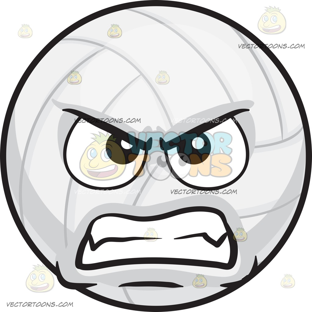 1024x1024 A Mad Volleyball Cartoon Clipart