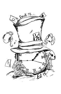 236x364 Mad Hatter Hat Drawing