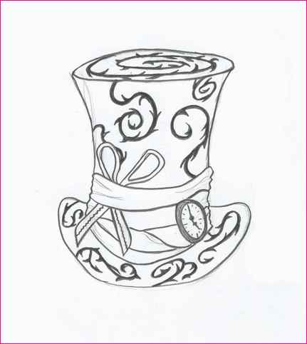 431x482 Alice In Wonderland Mad Hatter Hat Drawing Simple Image Gallery