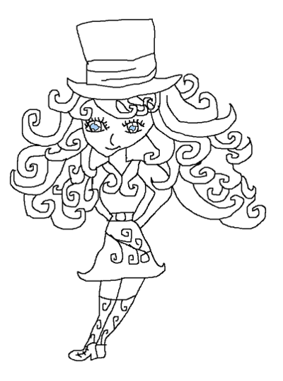 400x537 Mad Hatter's Daughter My New Oc Quick Line Drawing By Paradign