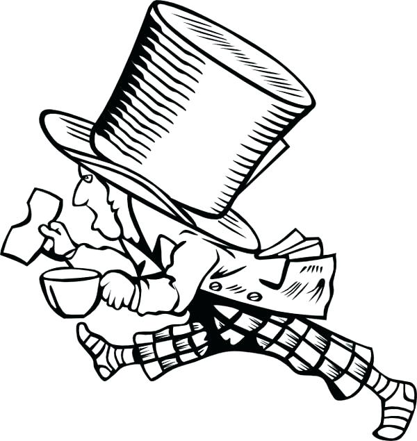 600x635 Mad Hatter Coloring Pages 86 Packed With How To Draw Mad Hatter