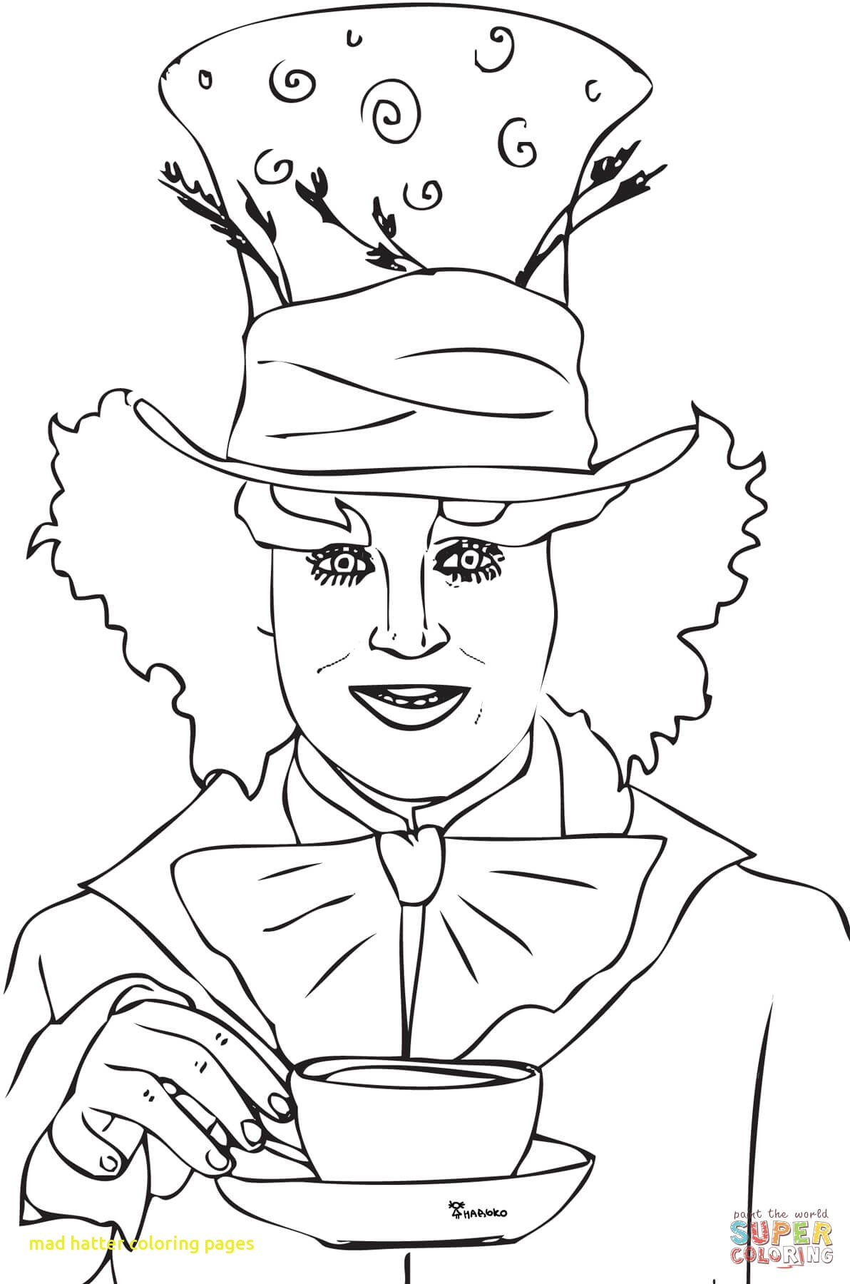 1192x1800 Mad Hatter Coloring Pages With Mad Hatter Tea Party Coloring Page
