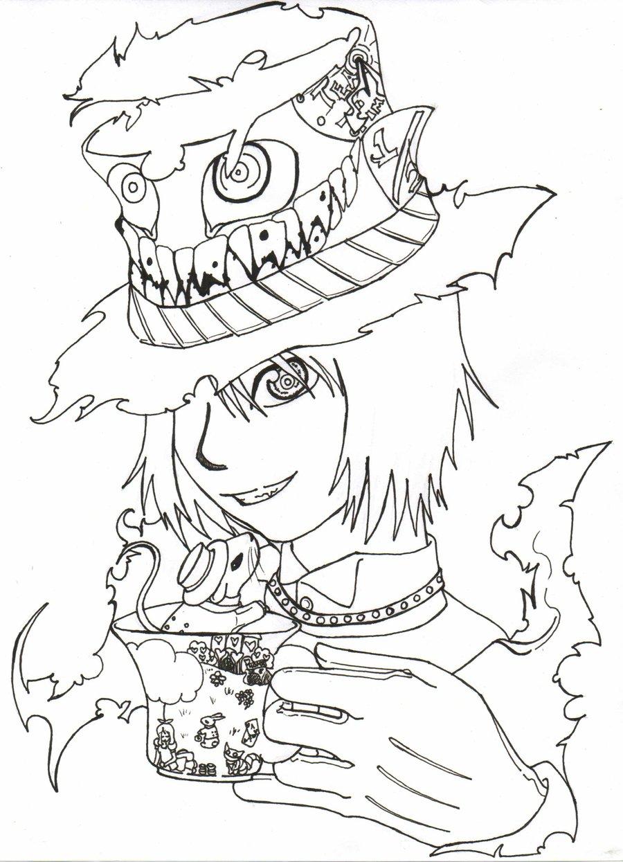 900x1245 Mad Hatter Line Art By Azrethr