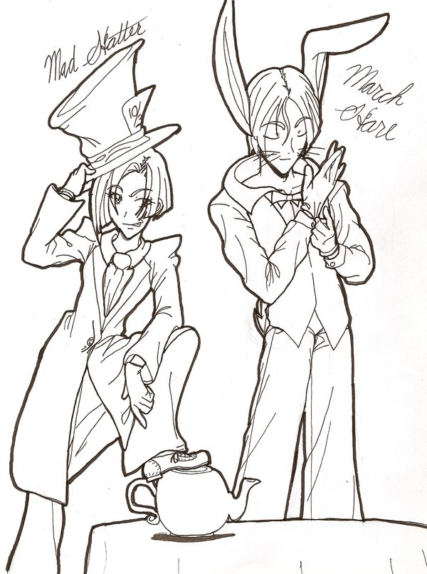 600x806 Mad Hatter And March Hare By Rabbs