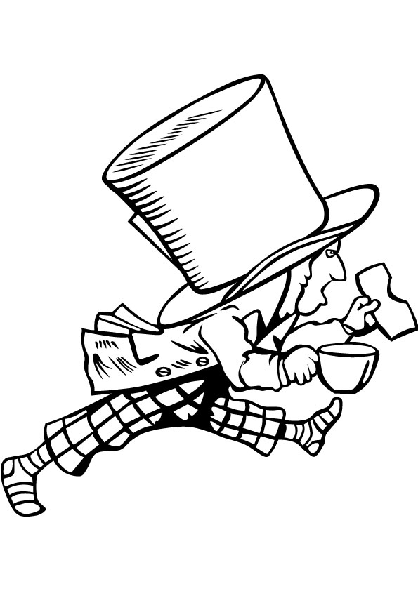 595x842 Mad Hatter Coloring Drawing