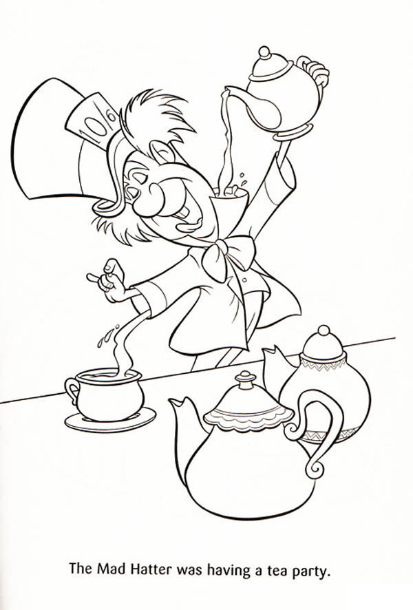 600x886 Mad Hatter Coloring Sheet With Teapot And Spoon Page