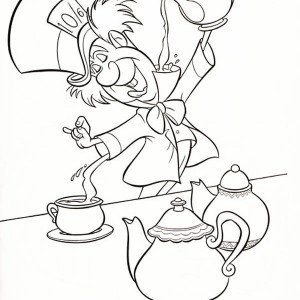 300x300 Alice In Wonderland Tea Cup Coloring Pages Page Manga Drawing Mad