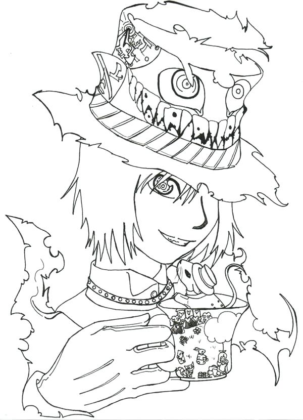 600x830 Mad Hatter Coloring Pages