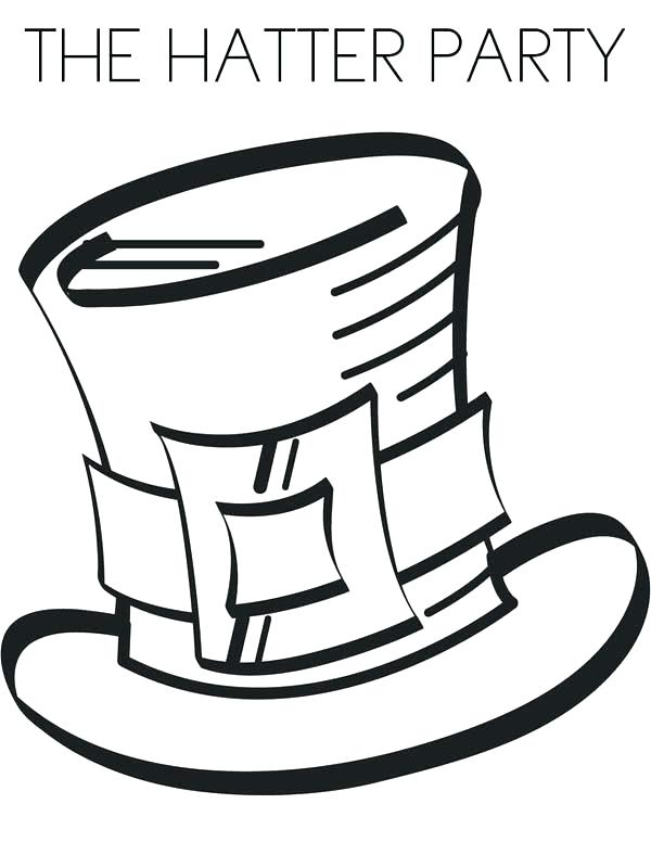 600x776 Beautiful Hat Coloring Page Fee Mad Hatter Pages Plus The Party