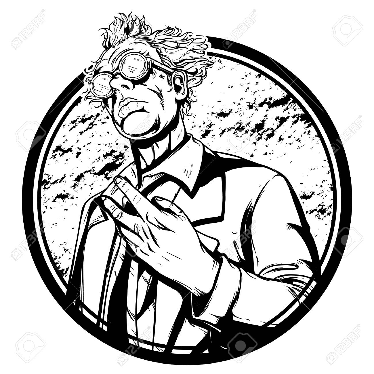 1300x1300 High Detailed Mad Scientist Illustration Vector Royalty Free