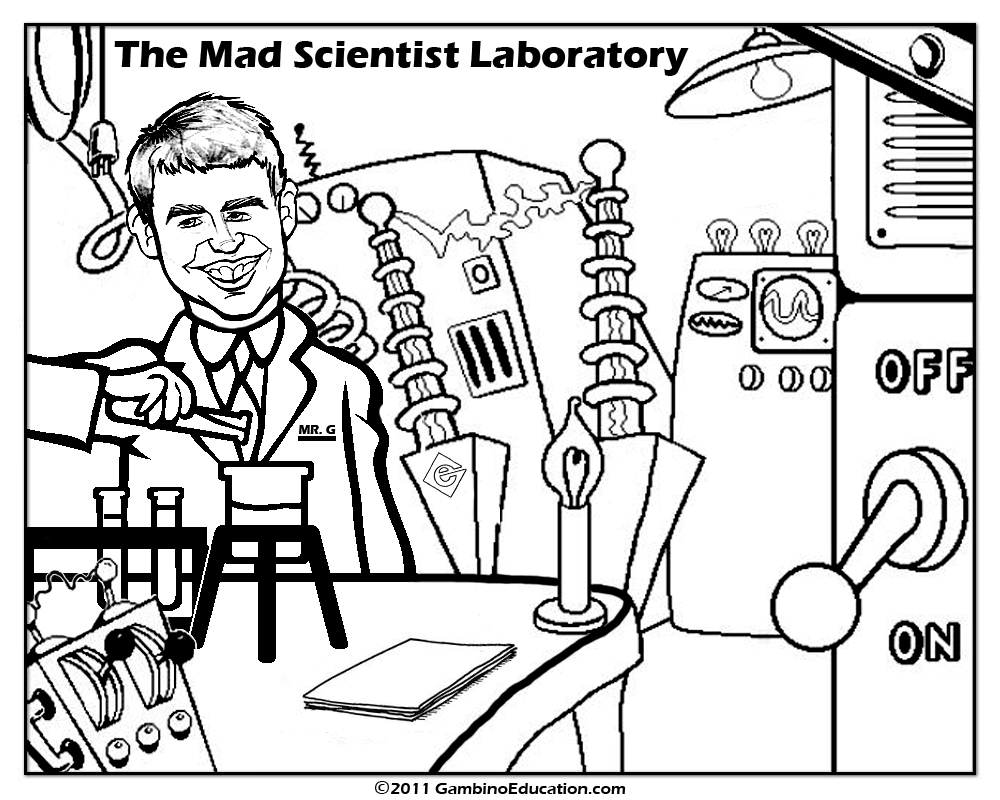 1000x800 The Mad Scientist Coloring Page