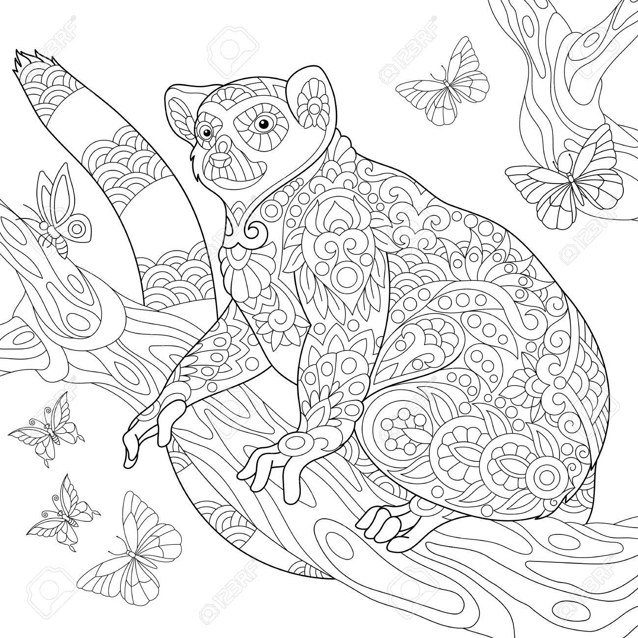 1300x1300 Coloring Page Of Madagascar Lemur Surrounded By Butterflies