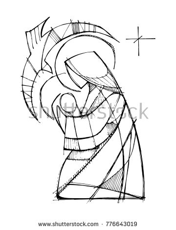 360x470 Hand Drawn Vector Illustration Or Drawing Of Virgin Mary With Baby