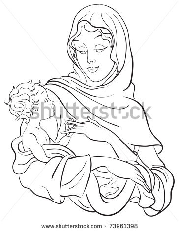 364x470 Outlined Illustration Of A Madonna And Child Jesus. Coloring Page