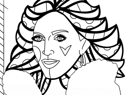 480x360 Madonna By Romero Britto Coloring Page Free Printable Coloring Pages