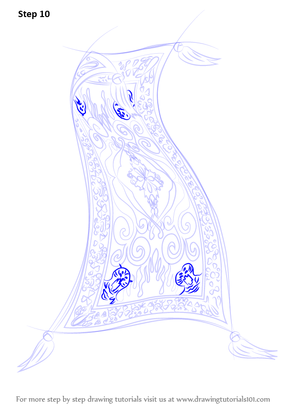 596x842 Learn How To Draw Magic Carpet From Aladdin (Aladdin) Step By Step