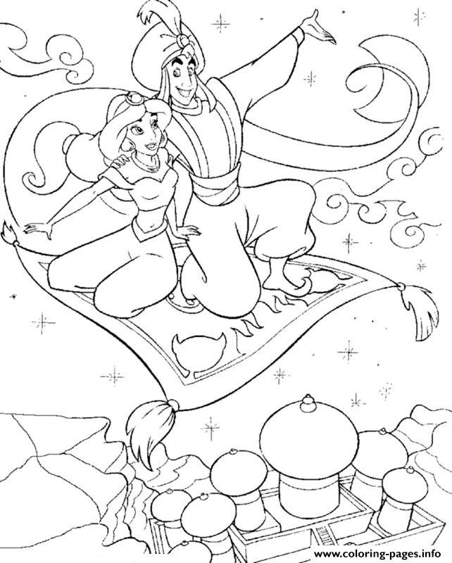642x800 Princess Jasmine And Aladdin Fly With Magic Carpet Disney Coloring