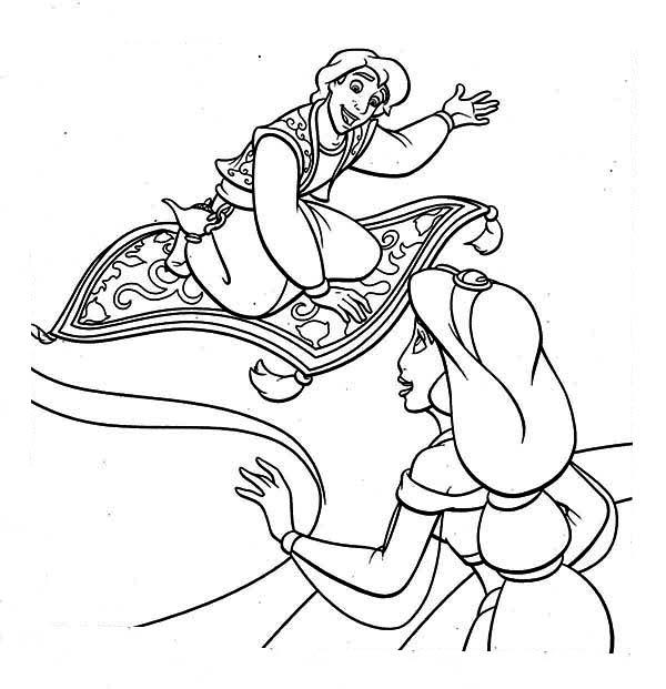 600x621 Aladdin Show Jasmine His Magic Carpet Coloring Page