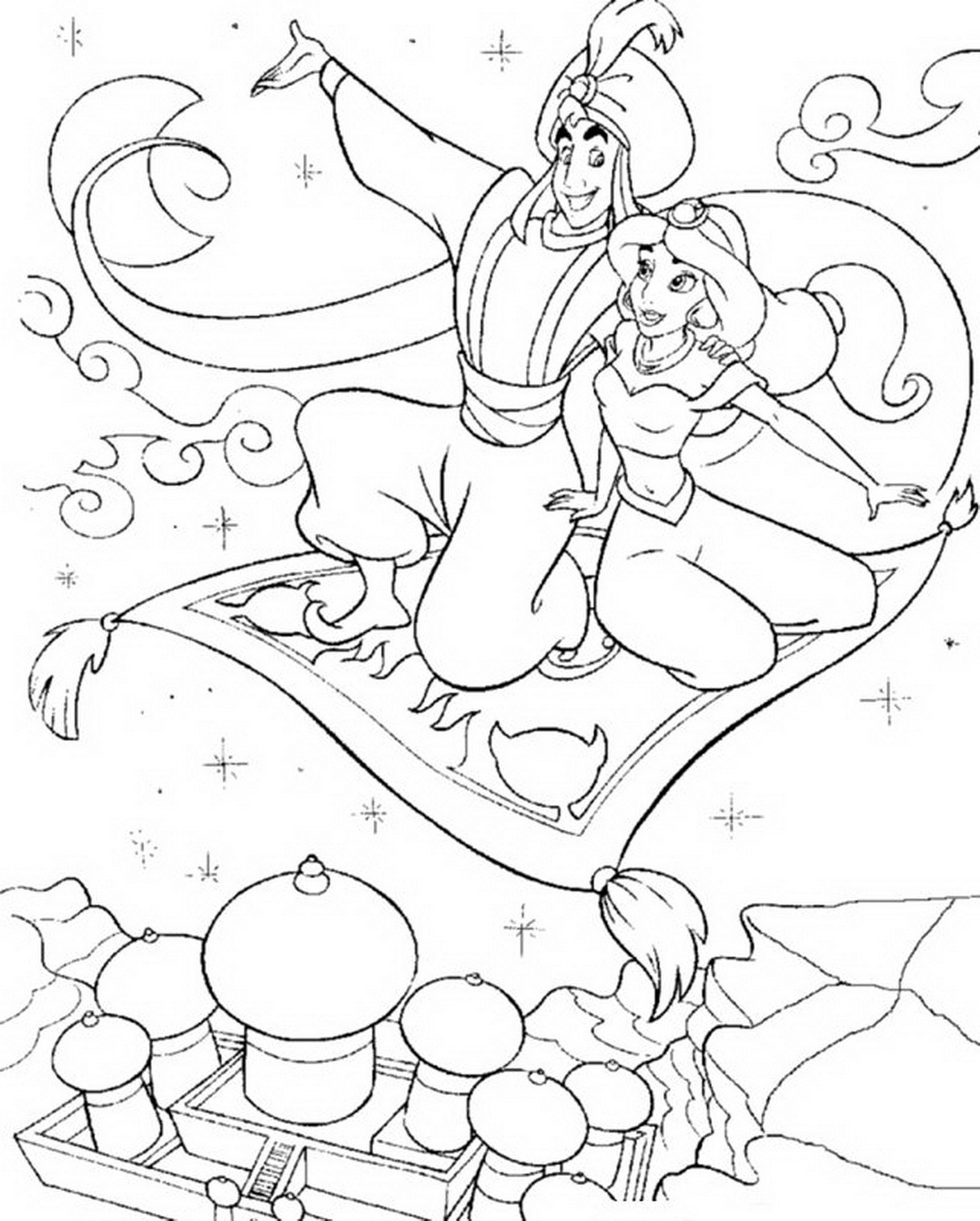 1284x1600 Aladdin Taking Jasmine On Flying Carpet Coloring Page Aladdin