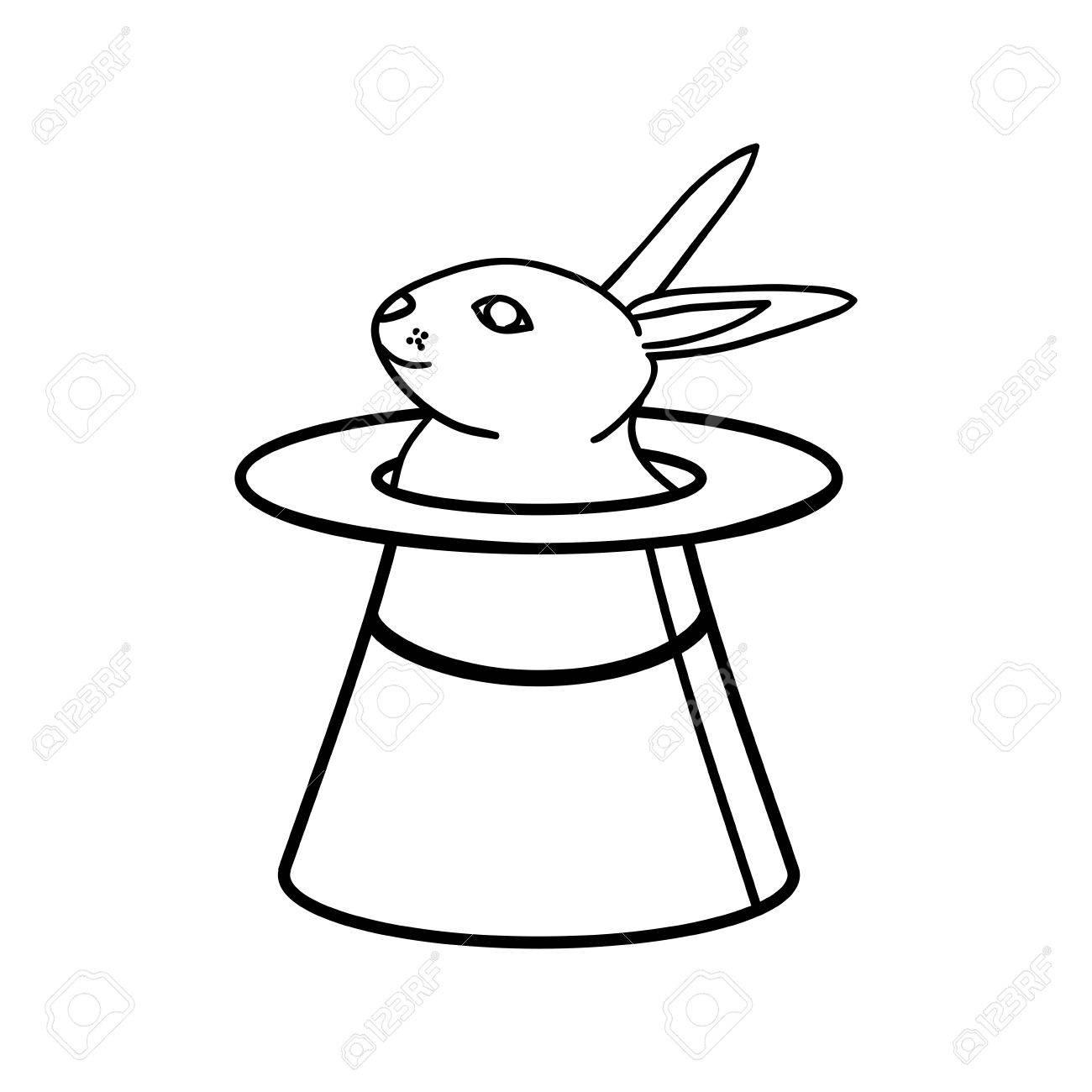1300x1300 Hat Rabbit Magic Surprise Icon. Isolated And Flat Illustration