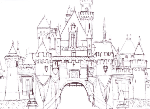 600x439 Disneyland Castle In Pen By Oddballartist