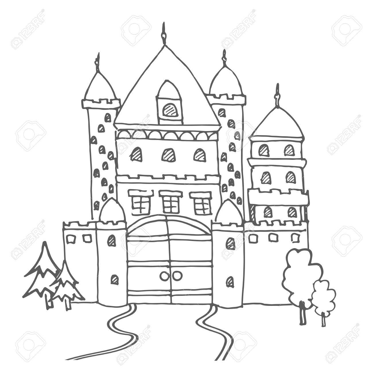 1300x1300 Hand Drawn Cartoon Fairy Tale Castle Icon. Vector Illustration