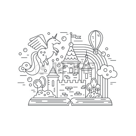 450x450 Thin Line Vector Illustration With Open Book And Fairytale Castle