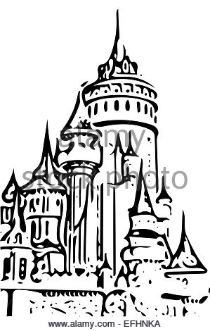 299x470 Cartoon Fairy Tale Castle Tower Icon. Vector Illustration Stock