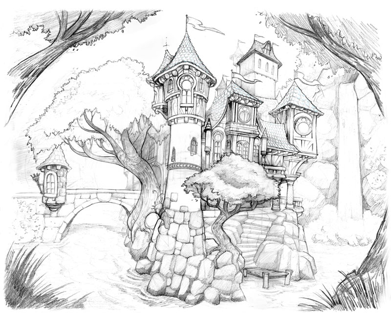 800x645 Castle Drawing By Brandonstarr