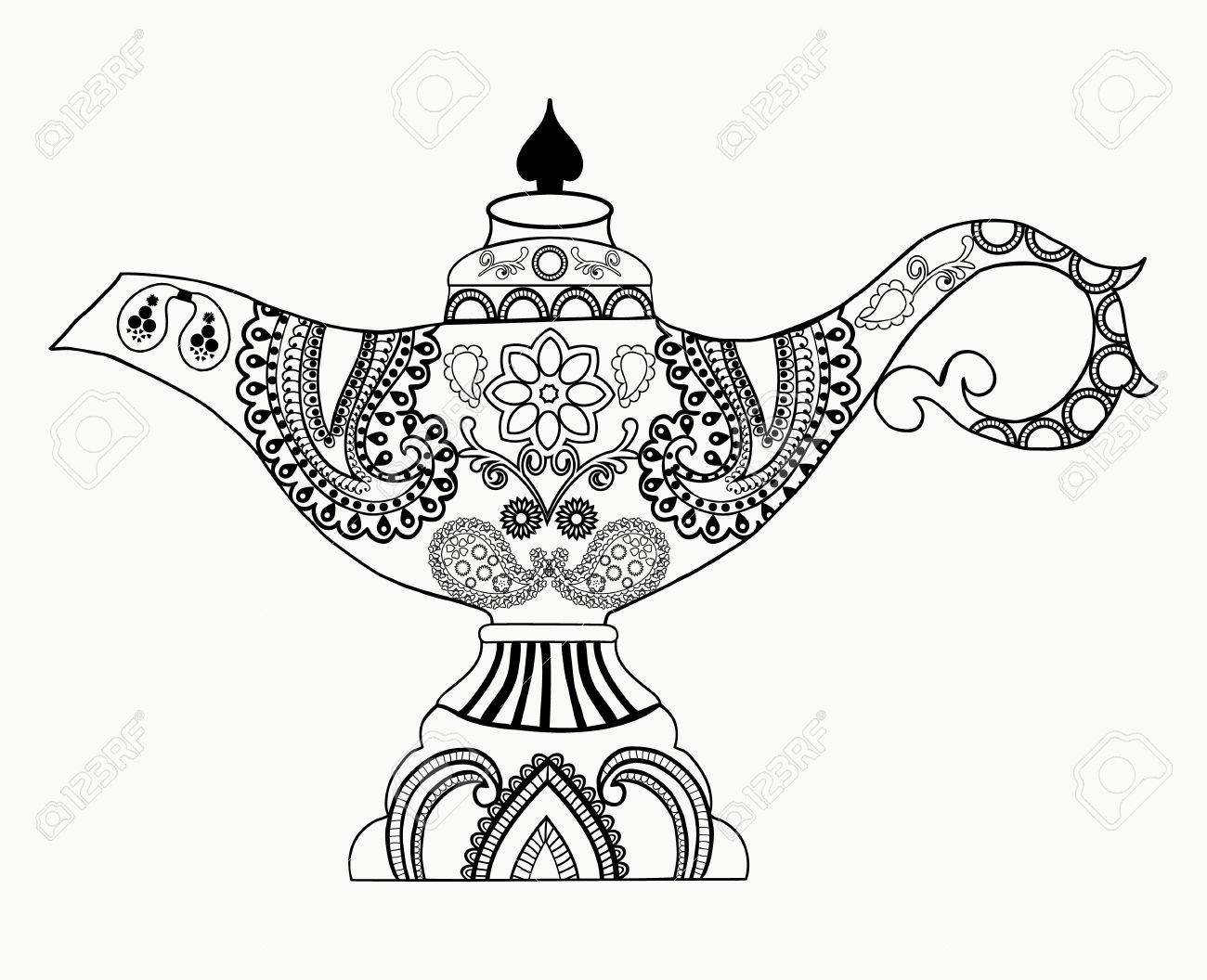 1300x1056 Alladin Magic Lamp Line Art Design For Coloring Book For Adult