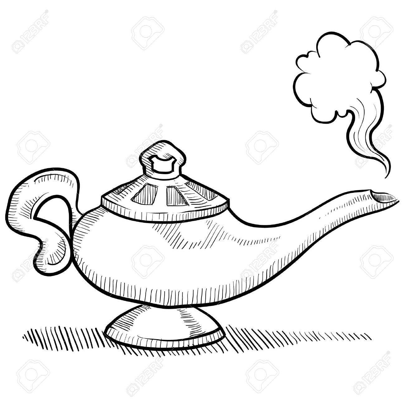 1300x1300 Doodle Style Genie Aladdin S Lamp Illustration Royalty Free