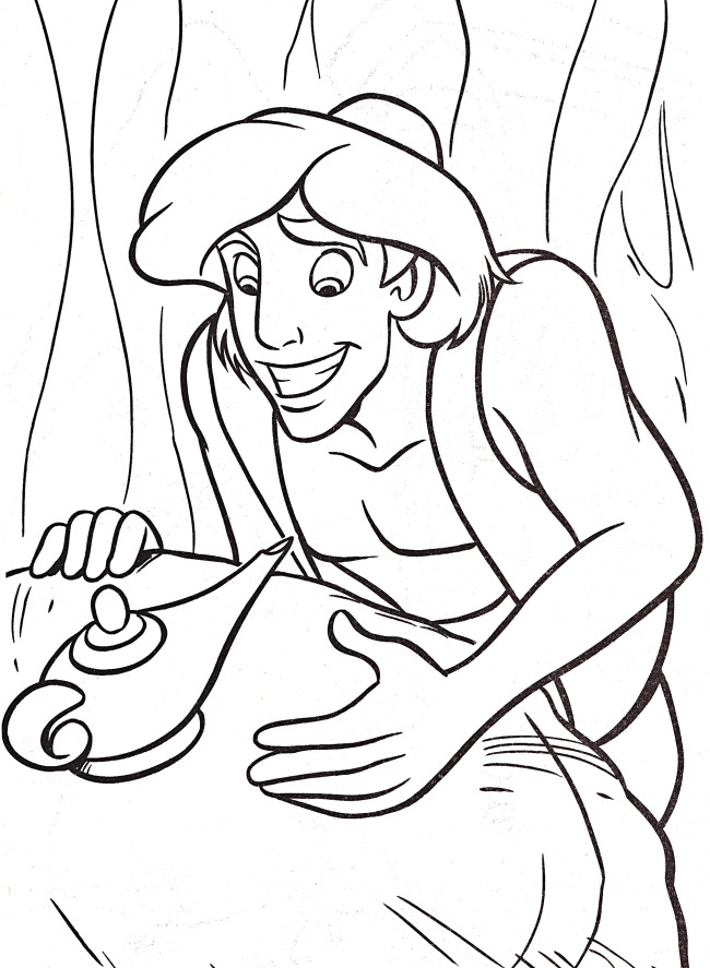 650x887 Aladdin Find A Magic Lamp Cartoon Coloring Pages Coloring Page