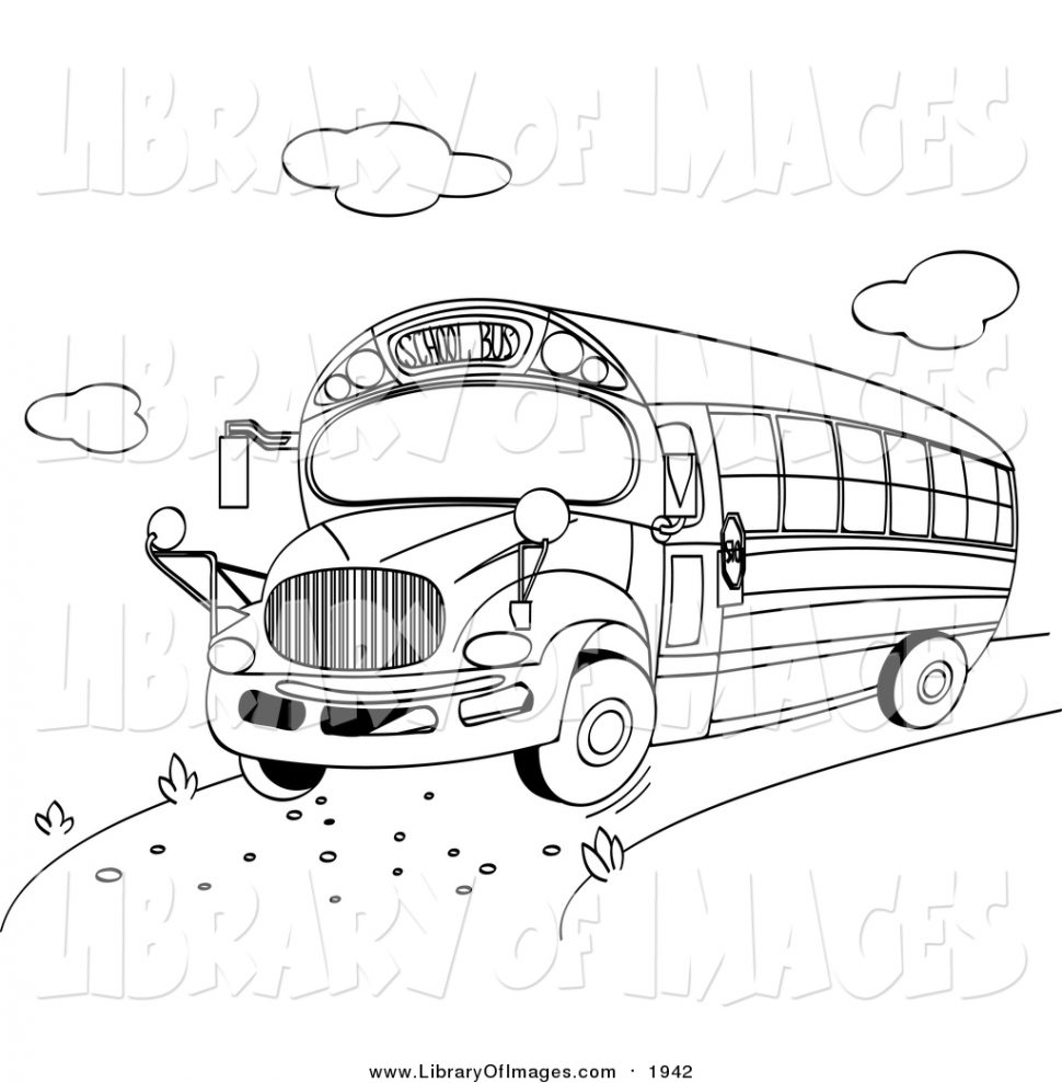 970x989 Coloring Clip Art Of Black And White School Bus By Pushkin