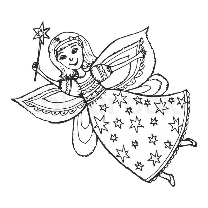 800x800 Hand Drawn, Cartoon, Sketch Illustration Of Fairy With A Magic