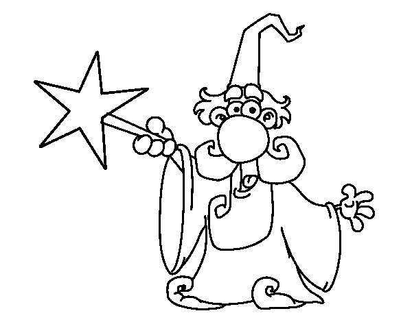 600x470 Magician With Magic Wand Coloring Page