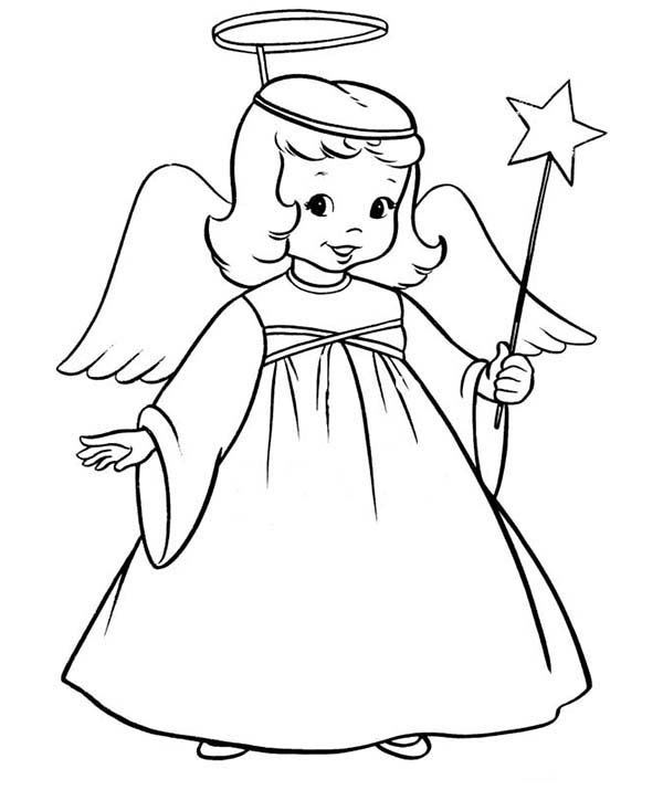 600x734 Winged Angels With Magic Wand Coloring Page Color Luna