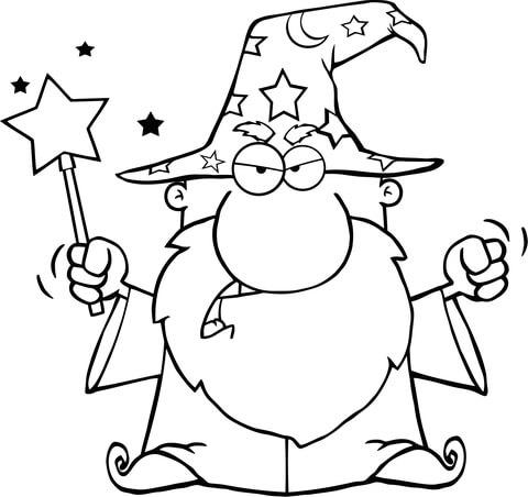 480x452 Angry Wizard Waving With Magic Wand Coloring Page Free Printable