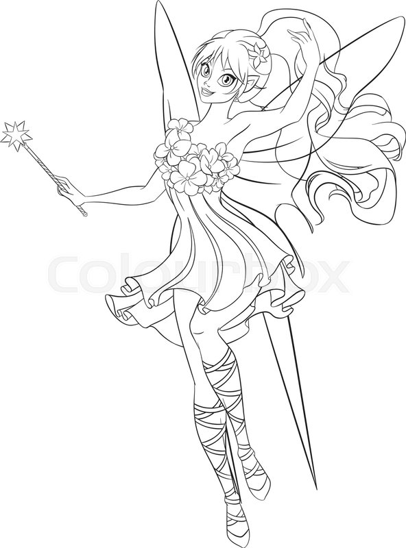 592x800 Beautiful Flying Fairy With Magic Wand. Print For The Coloring