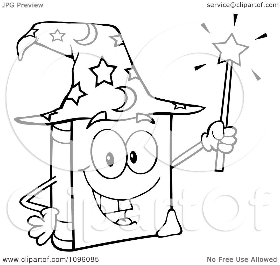 1080x1024 Clipart Outlined Happy Spell Book With A Wizard Hat And Magic Wand