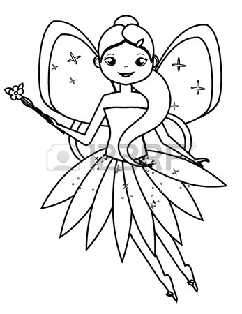 347x450 Coloring Page With Cute Flying Fairy Holding Flower Magic Wand