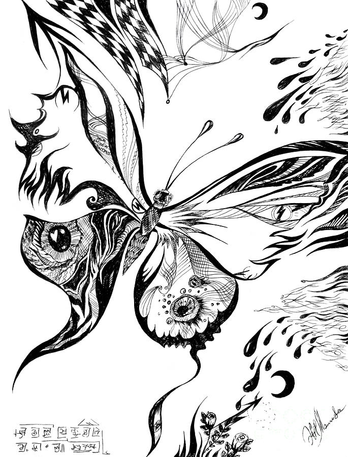 685x900 Magical Butterfly. Monochrome Drawing By Sofia Metal Queen