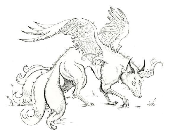 570x456 Sale Fantasy Art Magical Fox Kitsune Origianl Ink Drawing