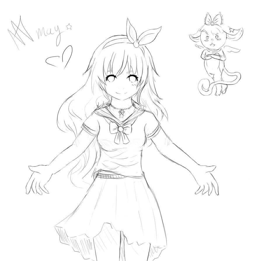 894x894 A Sketch Of A Magical Girl By Pyonka