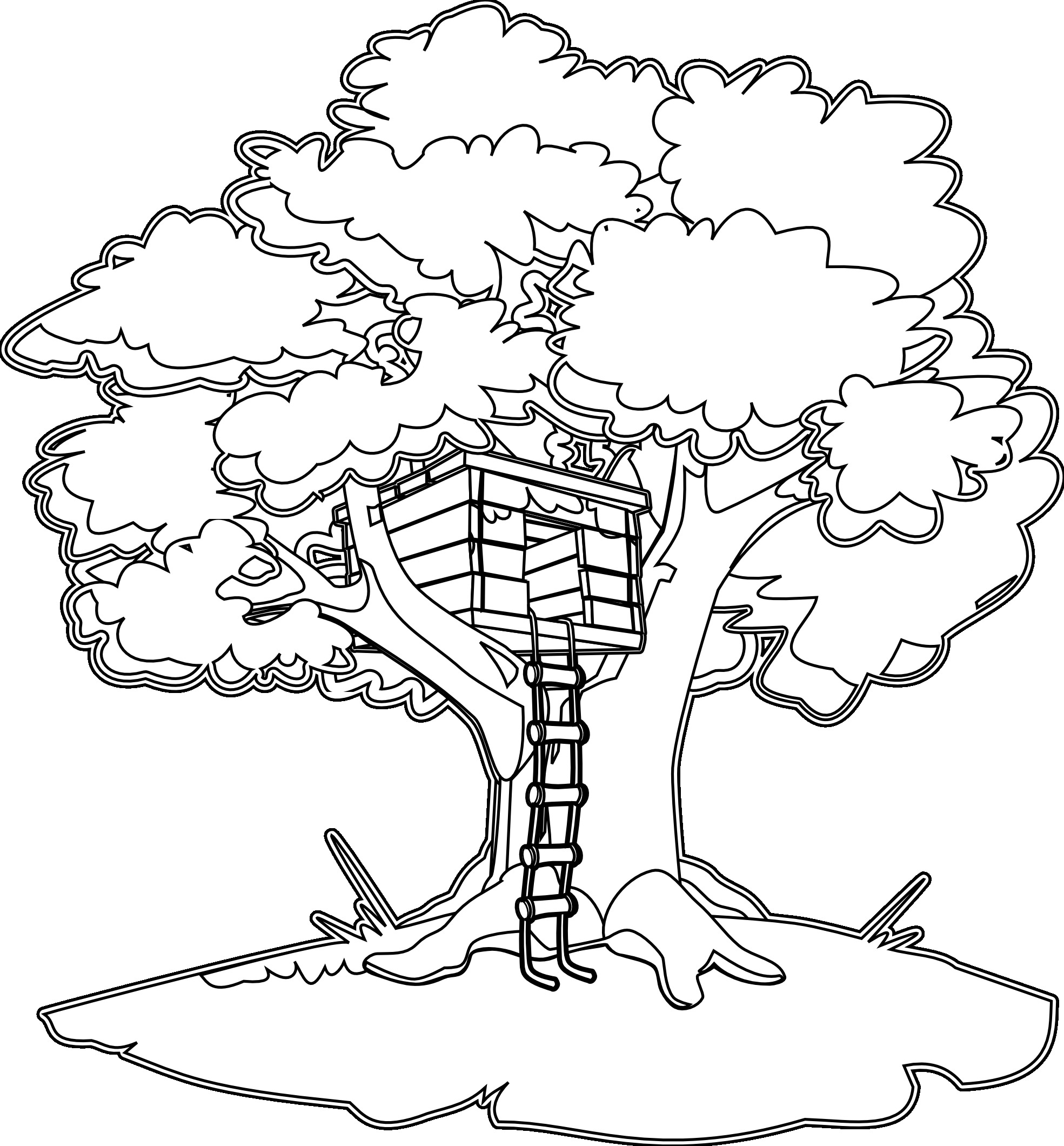 Jungle Tree House Coloring Pages - Clipart Library •